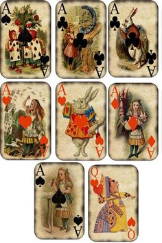 "Set of 8 Alice in Wonderland note cards. They measure 3 3/4"" x 5 1/4"" have colorful printing on the back of each card. 