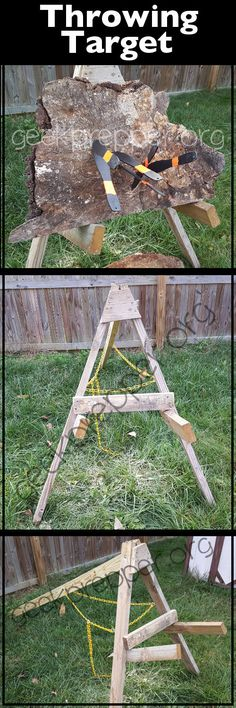 axe throwing target stand. a throwing target stand with adjustable angle, stores fairly flat and can hold very large axe