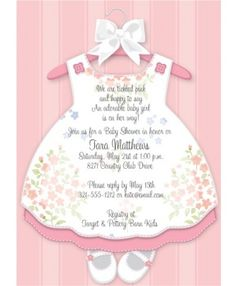 Baby Girl Dress Baby Shower Invitations