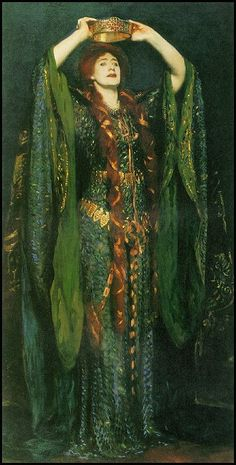 Ellen Terry as Lady Macbeth, Tate Galler, 1889 (by John Singer Sargent,1856–1925)  The amazing (and somewhat bizarre!) dress was created from thousands of irridescent beetle wings (shed not pulled) and was worn by the celebrated English Shakespearean actress, Ellen Terry (1847-1928 - a great nephew is John Gielgud).  Sargent (an American painter working in Europe) painted this portrait of Ellen Terry as she appeared while wearing the amazing robe in her role as Lady Macbeth for Henry…