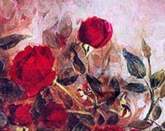 Luxusný dámsky hodvábny šál s motívom červených kvetov