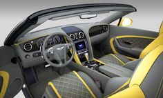 Bentley Continental GT Speed Convertible yellow and black interior option diamond stitch grey Bentley Continental Gt Speed, Car Upholstery, Grey Yellow, Amazing Cars, Convertible, Mercedes Benz, Car Seats, Luxury, Vehicles