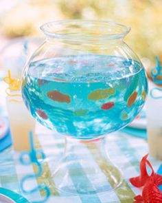 March 18, 2012  Jello Fish Bowl.   This Swedish Fish and Jello dessert make the perfect party food and centerpiece for a party. Swedish fish have 0 grams of fat:)  http://party.tipjunkie.com/jello-fish-bowl-party-foods/