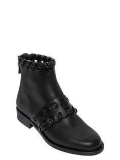 FENDI - 20MM EYELETS LEATHER ANKLE BOOTS - BLACK