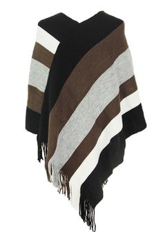 GAGA Mens Winter Striped Tassel Scarf Solid Color Soft Scarf