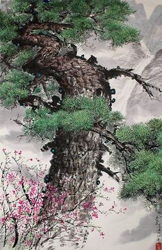(North Korea) Pine tree in the spring color by Lee Yul-seon (1933- ). brush watercolor.
