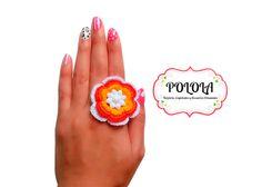 Anillo tejido en la tecnica de crochet, trabajo artesanal hecho a mano Ref: ava01 Gemstone Rings, Gemstones, Craft Work, Rings, Hand Made, Tejidos, Accessories, Gems, Jewels