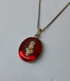 Antikes+835er+Medaillon+mit+Emaille+Blumen+SK570+von+Atelier+Regina++auf+DaWanda.com