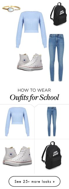 """Autumn school look"" by kenziejoy1313 on Polyvore featuring Paige Denim, Converse and La Kaiser"