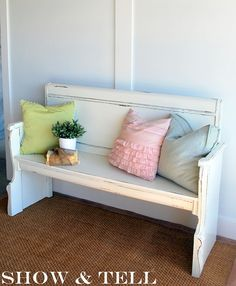 bench made from headboard and footboard of old bed.....tutorial...love the pink ruffled pillow, also