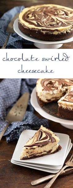 This is a simple cheesecake recipe that bakes up beautifully! This is a simple cheesecake recipe that bakes up beautifully! Köstliche Desserts, Delicious Desserts, Dessert Recipes, Yummy Food, Health Desserts, Chocolate Swirl Cheesecake, Plain Cheesecake, Cheesecake Cake, Cake Chocolate