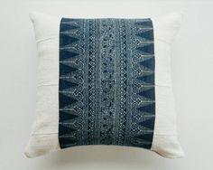 Indigo Batik and Mudcloth Pillow Cover - Bohemian Luxe Pillow - Boho Throw by habitationBoheme