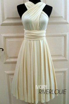 IVORY Convertible Multiway Bridesmaids Wedding Maternity Prom Dress could it be 30?