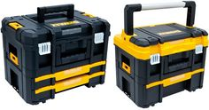 Dewalt is coming out with a new system of interlocking and modular Tstak tool boxes and organizers that will go head-to-head with Bosch's L-Boxx and Festool's Systainer systems. Dewalt Tool Box, Dewalt Tstak, Dewalt Tools, Dewalt Storage, Tool Storage, Storage Systems, Dewalt Tough System, Mobile Workshop, Bosch Tools