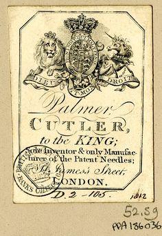 Trade card of Mr. Palmer, cutler
