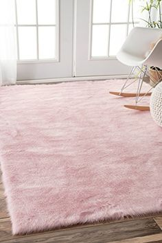 Faux Sheepskin Cloud Solid Soft and Plush Pink Shag Area Rugs, 3 Feet by 5 Feet (3' x 5')