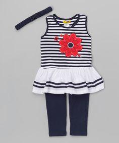 Kids Energy Navy Daisy & Stripe Tunic Set - Infant | zulily