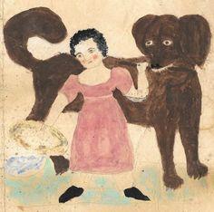 19th Century Folk Art Drawing Girl with Dog and Stick Collection Jim Linderman Dull Tool Dim Bulb http://dulltooldimbulb.blogspot.com/