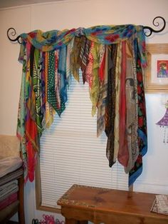 Bohemian curtains - 20 Very Cheap and Easy DIY Window Valance Ideas You Would Love Bohemian Curtains, Diy Curtains, Scarf Curtains, Patchwork Curtains, Beaded Curtains, Window Curtains, Fabric Strip Curtains, Doorway Curtain, Bohemian Fabric