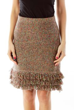 1332b1994 Elegant skirts for the office multicolor fringe knit skirt by Hem &  Thread #silkroll