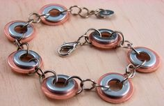Copper  Bracelet  Hardware jewelry Chain link Industrial Washers. $15.00, via Etsy.