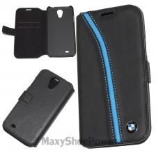 BMW CUSTODIA BOOK FLIP COVER REAL LEATHER CASE SAMSUNG GALAXY S4 I9500 / I9500 NERO BLACK - SU WWW.MAXYSHOPPOWER.COM