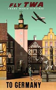Germany....Fly TWA....Vintage Travel Poster