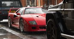Classics and supercars thrive in London, come rain or shine Maserati, Bugatti, Lamborghini, Ferrari F40, Royce, Jaguar, Porsche, Automobile, Underwear Brands