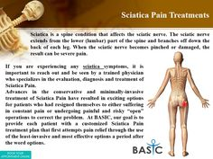 Finding the right treatment type for relief from #Sciatica Pain can be just as frustrating as the condition itself. If you are experiencing any #sciatica symptoms, Just book your appointment @Basic Spine. Call - 949-335-7500 NOW!