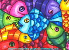 Fish family Abstract art