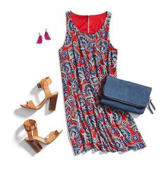 **** Just in for your STITCH FIX May 2017! Ask your stylist for these very styles in your next box!! In love with this adorable red and navy shift dress and those SCHUTZ block heels are to die for! Just click the picture to get started!! Stitch Fix Spring Summer 2017. #Affiliate #StitchFix