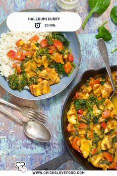 Halloumi curry Not tired of curry? Then make this vega variant with halloumi! Within 20 minutes this o-so tasty plate with curry will be on your table. Curry Recipes, Veggie Recipes, Vegetarian Recipes, Healthy Recipes, Halloumi, Low Carb Brasil, Vegas, Soul Food, Food Inspiration