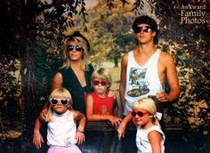 """""""While we were never the type of family to sit for a studio portrait, someone stumbled across a coupon and decided to give it a shot. Mind you, this is the ONE AND ONLY family portrait we ever took. I am on the bottom left with the too-big-for-my-face white fashion glasses and the poorly chopped bangs.) I vaguely recall that we had a family meeting and decided to try and look """"cool"""" — hence the sunglasses and the emotionless faces. I'm not sure what's more entertaining: the fact that"""