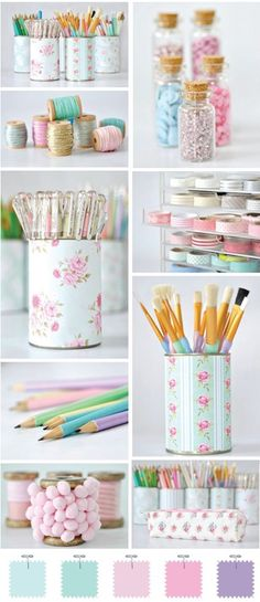 Cute decorated Cans to use for craft room