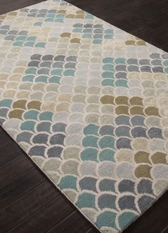 We love this new Ariel rug with its' mermaid tail like looped scale design! Ariel Enchanting Wool and Silk Rug