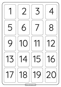Printable 1 to 20 Rectangle Border Numbers Worksheet 05