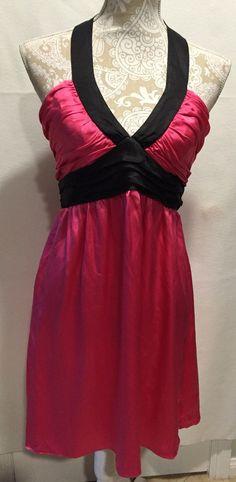 Betsey Johnson 100% Silk Fuchia Black Party Holiday Formal Sleeveless Dress Sz 8