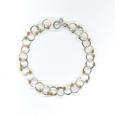 Sterling Silver Bracelet with Gold Beads by WvWorks, $60.75