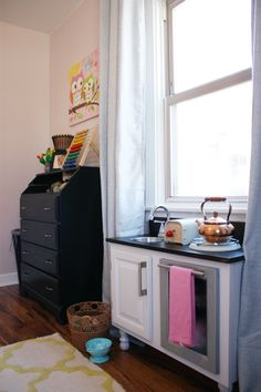 Home-made play kitchen.