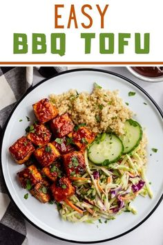 This BBQ Tofu is simple to make and PACKED with flavor! It can be baked or pan fried and both are delicious! Bbq Tofu, Kung Pao Chicken, A Food, Fries, Vegetarian, Yummy Food, Vegan, Baking, Healthy