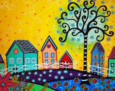 Gallery of Modern Folk Artist Pristine Cartera-Turkus: November 2010 Mexican Paintings, Art Paintings, Karla Gerard, Mexican Flowers, Mandala, Cottage Art, Arte Popular, Naive Art, Mexican Folk Art