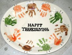 Happy Thanksgiving Hand Print Platter - painted as a Class Project @ #themadpotter #houston
