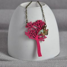 Irish Holly Tree Necklace by artysmarty, the perfect gift for Explore more unique gifts in our curated marketplace. Wooden Necklace, Tree Necklace, Wooden Jewelry, Handmade Jewelry, Holly Tree, Pink Trees, Wooden Tree, How To Make Notes, Brass Chain