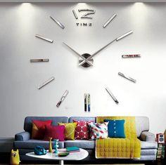 Home Decor Large Decorative Wall Clocks Modern Design Horloge Murale Stickers Mirror Effect Acrylic Glass Large Wall Clocks Klok
