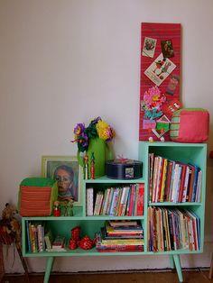 Mid century mint painted bookshelf