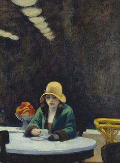 """Se """"siente"""" la soledad que la embarga, la soledad no elegida...  <3 Edward Hopper's """"Automat"""", 1927."""