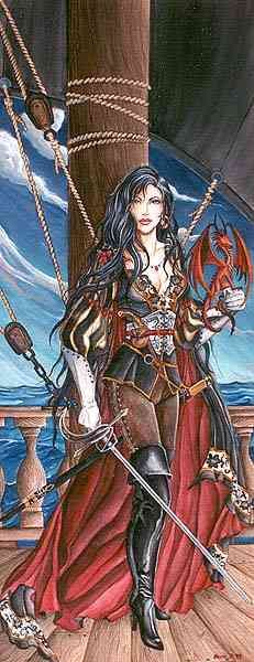 Pirate garb. I like how the corset flares at the bottom and her white gloves! Cosair - Nene Thomas