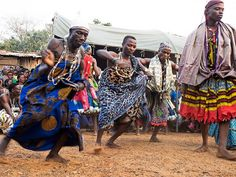 Traditional dancers from Benin, Africa.  H