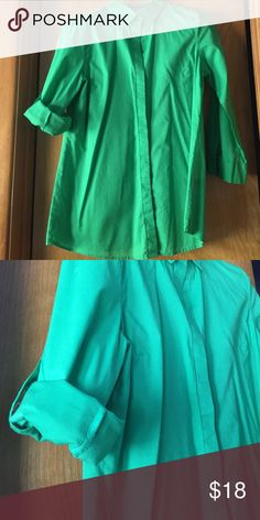 Kelly green bottom down shirt Worn once or twice. In perfect condition!! Beautiful Kelly green shirt. 3/4 sleeve with optional rolled up sleeve with button tab and fun buttons down the back. The Limited Tops Button Down Shirts