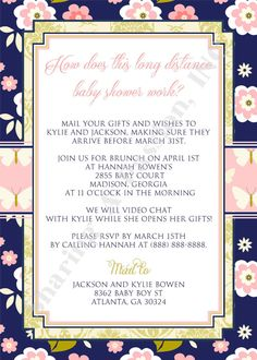 Long Distance Baby Shower Invitation   Shower By Mail Invite   Boy Baby  Shower Invitation   Baby Sprinkle Invite   Navy And Green Invite | Baby |  Pinterest ...